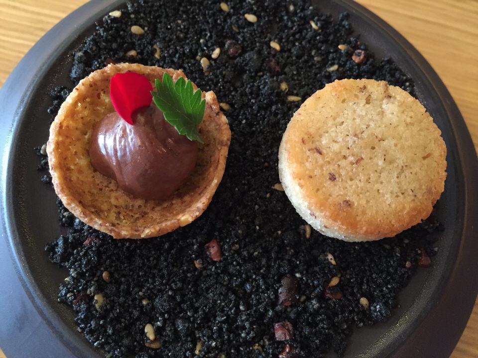 Tartelette chocolat pimprenelle, financier noisette