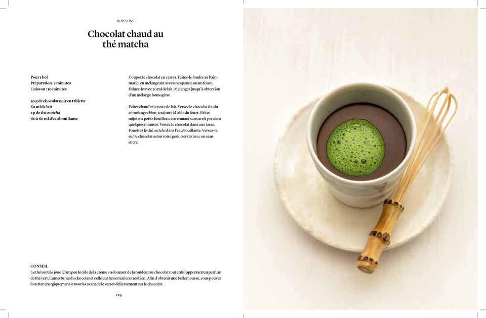 Chocolat chaud et thé matcha