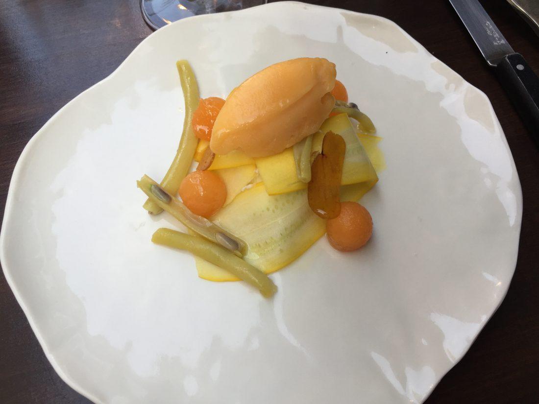 Courgette, ricotta, melon, poutargue ©mtanguy