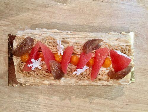 Cette recette de bûche est une création de Bastien Blanc Tailleur, créée pour l'un des premiers cours de pâtisserie donné à l'Atelier Cuisine AD, nouveau cours de cuisine à Vincennes