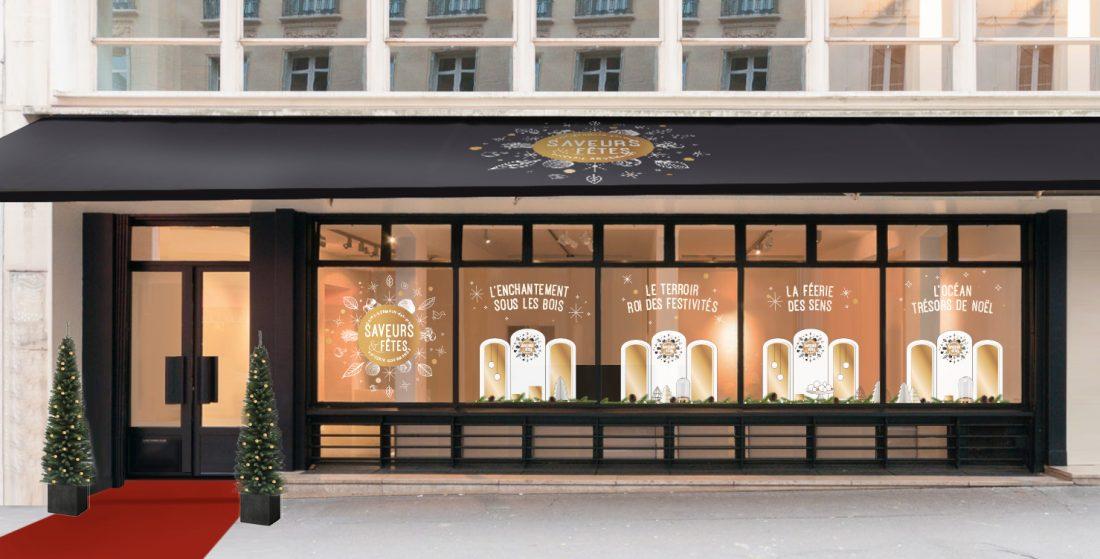 Un lieu éphémère en plein cœur de Saint Germain des Prés, transformé en épicerie fine expressément dédiée aux produits de fête.